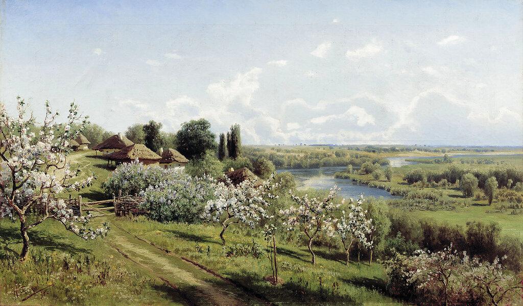 0881.Sergeev.Nikolaiy.Iabloni.v.cvetu.V.Malorossii.1895.holst.maslo.jpg