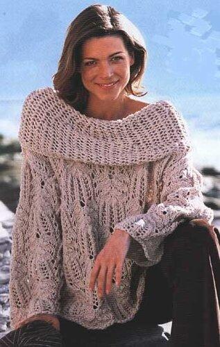 Вязание.  Узорчатый пуловер с большим воротником.