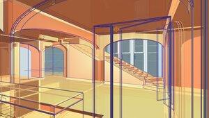 Интерьер гостиной, через светопрозрачное остекление кухни, лестница вверх на второй этаж. Выход на приусадебный участок. Проектирование жилого дома коттеджа для большой семьи. Архитектурный предпроект.