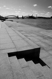 Углы и линии (Большеохтинский мост, линия, монохром, мост, Петербург, угол)