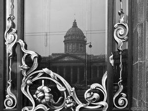 Мой Петербург (Казанский собор, монохром, отражение, Петербург)