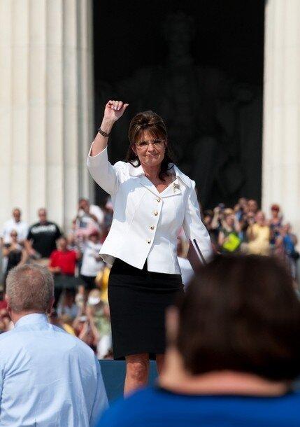 Former Alaska governor Sarah Palin arriv