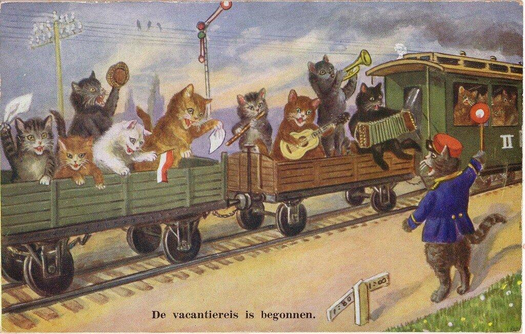 Старинные открытки с кошкам