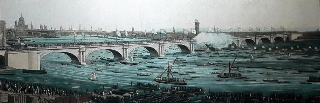 Толпы посещают открытие моста Ватерлоо 18 июня 1817 года