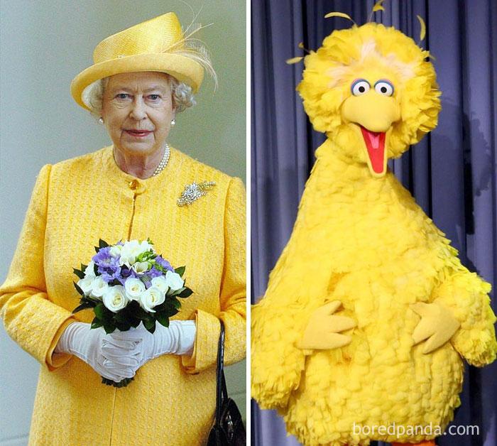 Королева Елизавета II или Большая Птица из «Улицы Сезам»?