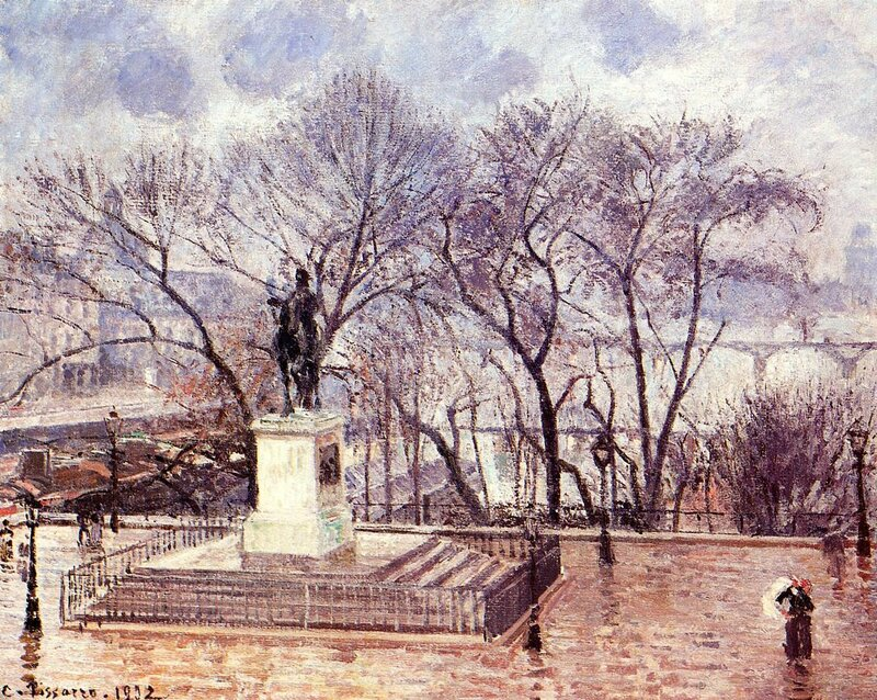 Pissarro_the_raised _terrace _of_the_Pont-Neuf_place _henri_afternoon_rain_1902