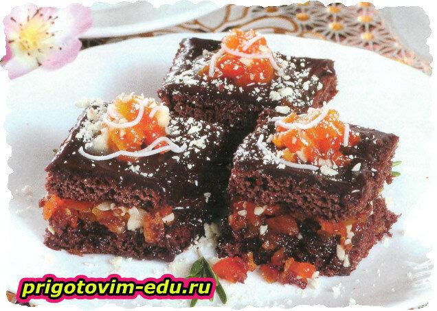 Пирожные с сухофруктами в шоколаде