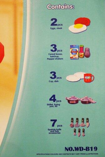 Игрушечная детская кухня WD-A19 и WD-B19 с посудой и часами