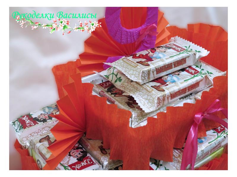 торт из сока и конфет, угощение в школу, ручная работа, подарки, оформление подарка, подарочный торт, свит-дизайн, рукоделки василисы