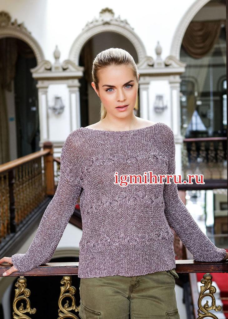 Летний пуловер цвета лаванды с косами. Вязание спицами