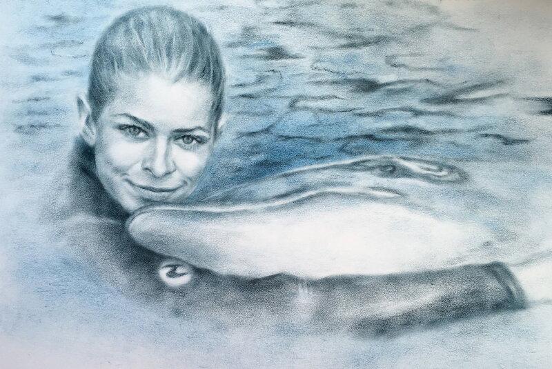 Девушка и дельфин. Чудесные портреты художницы luboff00