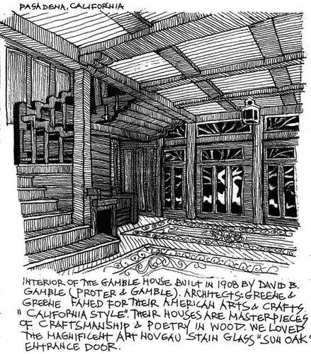 Дом Гембл, рисунок интерьера
