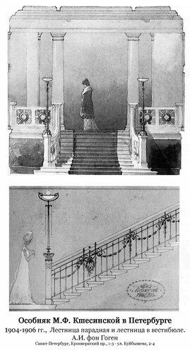 Особняк Ксешинской в Петербурге, интерьер парадной лестницы и лестницы в вестибюле