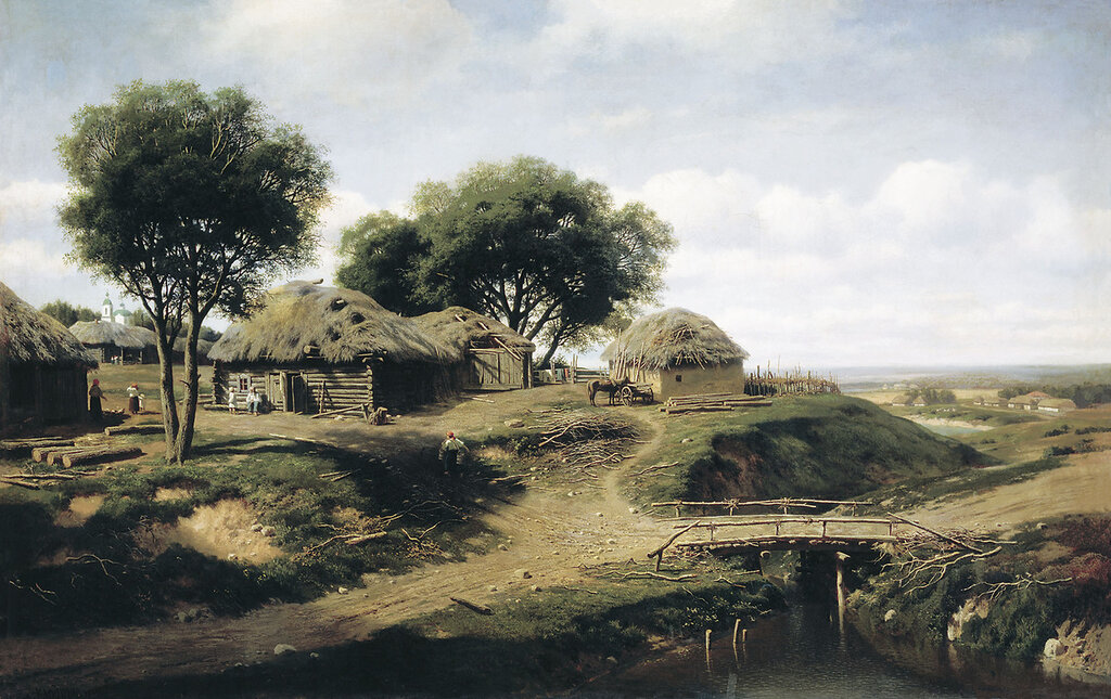 0443.Klodt.Mihail.Konstantinovich.Selo.v.Orlovskoiy.gubernii.1864.holst.maslo.137h217.sm.jpg
