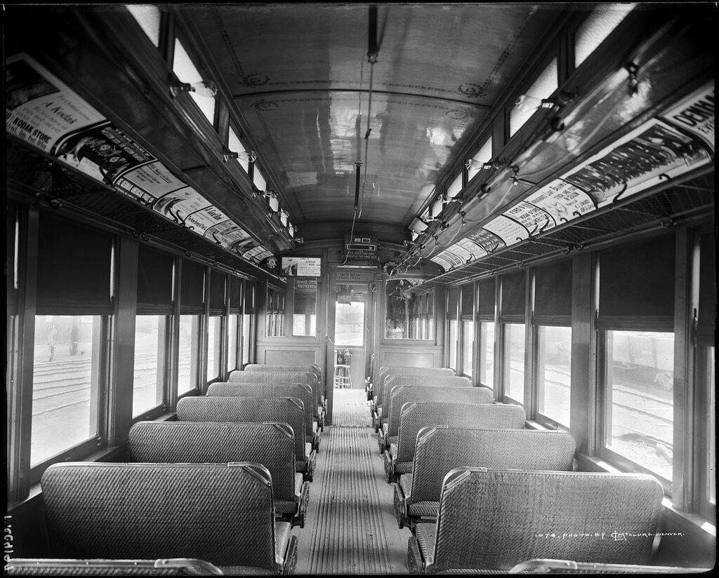 Interior view of Denver & Intermountain passenger car #22 sports reversible, Denver, Colorado, 1909