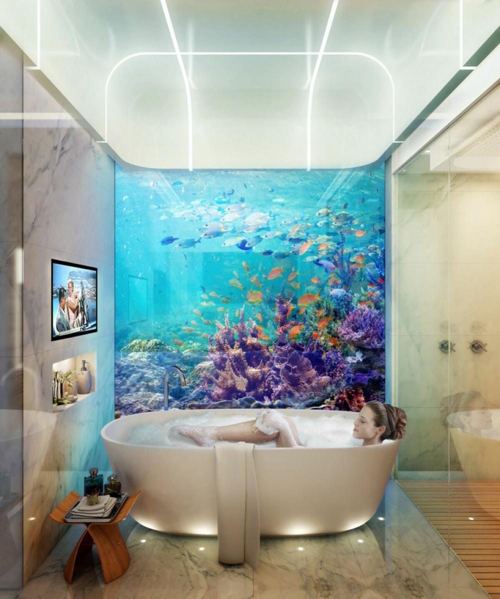 «Подводное» помещение будет иметь прозрачные панорамные окна, так что жители вилл смогут получить чт