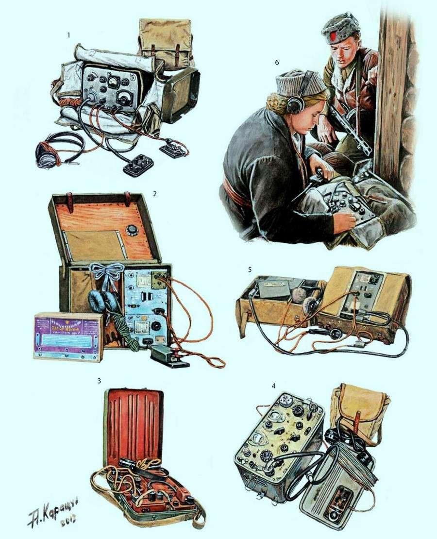 Различные виды переносных радиостанций, которые использовались партизанами для осуществления связи с Большой землей