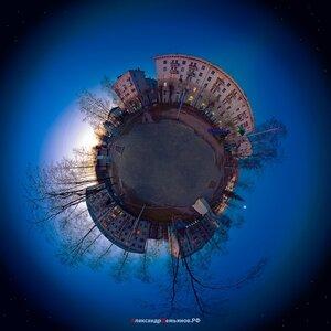 Волшебный дворик coordinates, polar, город, закат, микропланета, пейзаж, Чебоксары, маленькие миры