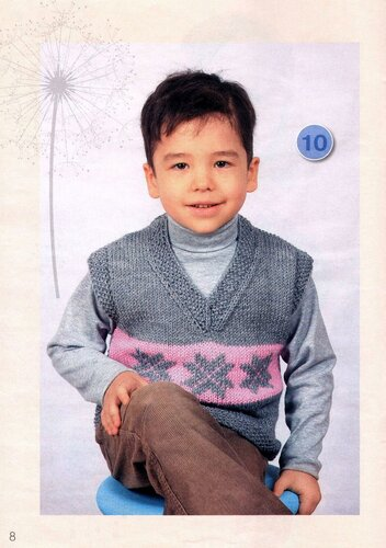 Предаставляем описание вязания жилета для мальчика и узоры для вязания спицами жилета.