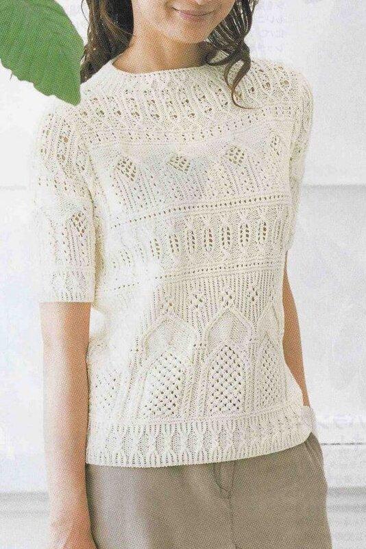 как связать свитер с рукавом летучая.