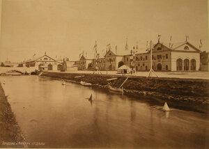 Вид павильонов, где размещались горнозаводской и фабричный отделы выставки.