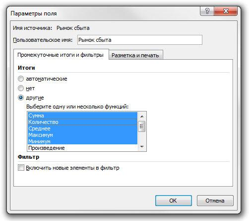 Рис. 3.29. Установка переключателя другие в разделе Итоги позволяет определять тип промежуточных вычислений, выполняемых в сводной таблице