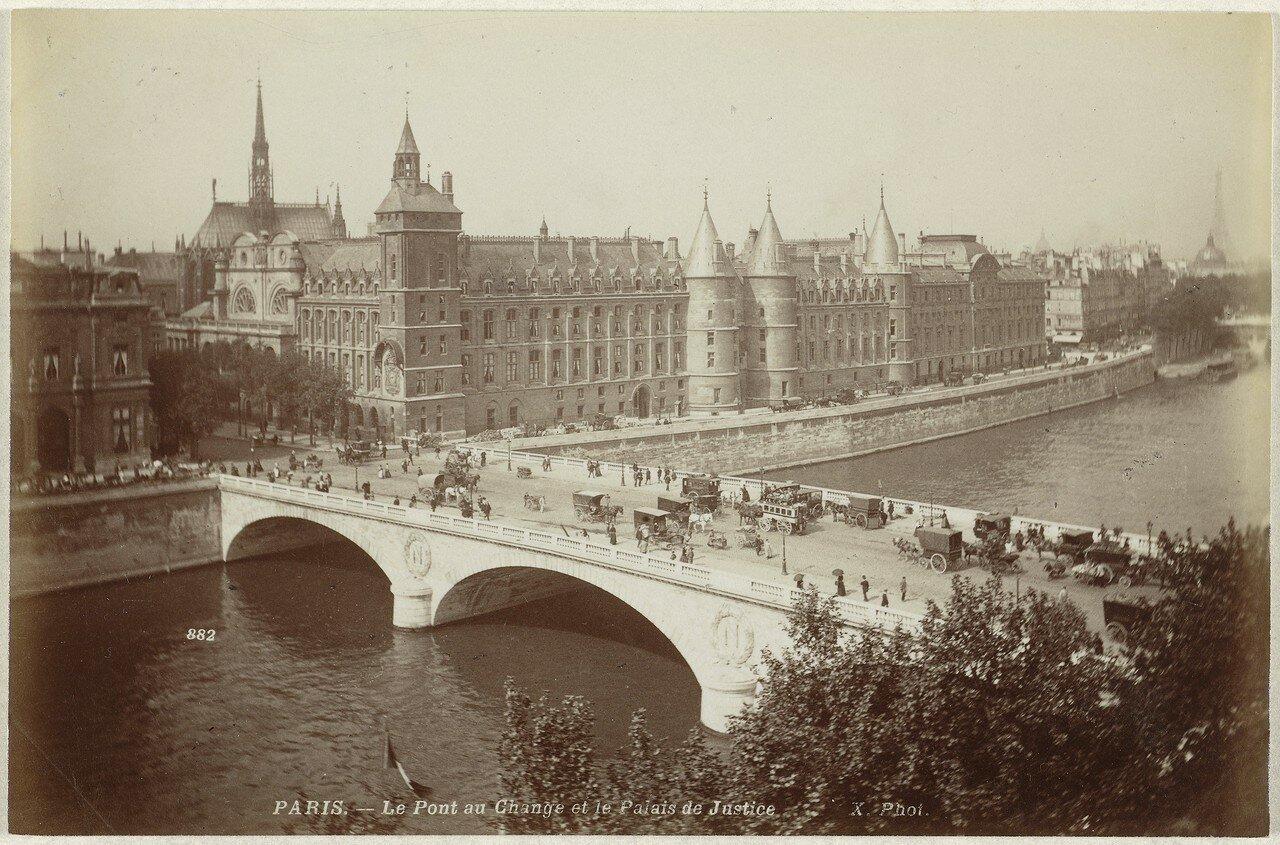 1880-е. Вид на Сену, Мост Менял и Дворец юстиции