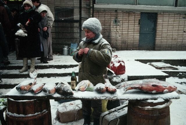 Woman Selling Fish in Moscow