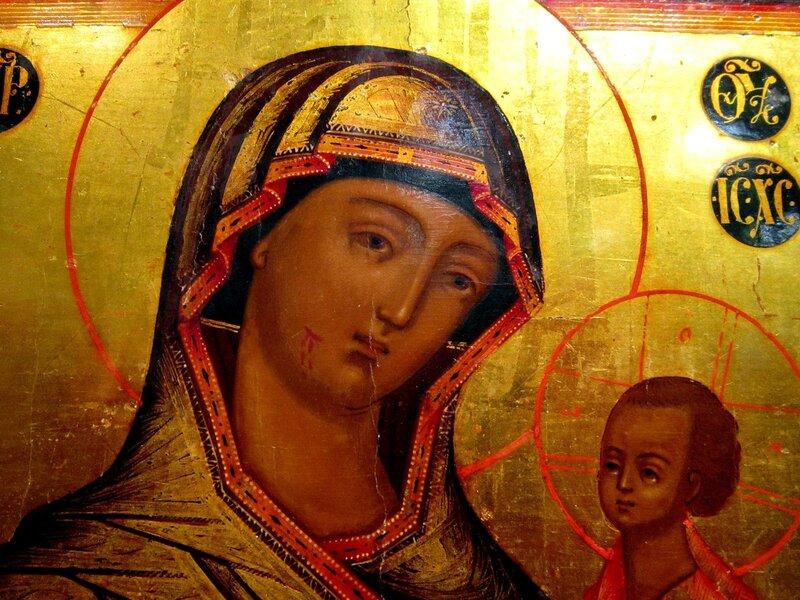 Иверская икона Божией Матери. Около 1845 года. Фрагмент.