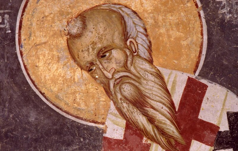 Святой Равноапостольный Аверкий, Епископ Иерапольский, Чудотворец. Фреска в церкви Спаса в Кучевиште, Македония. XIV век.