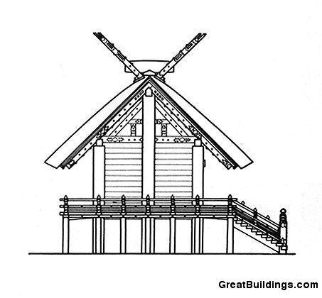 Святилище Исе, Остров Хонсю, Япония, боковой фасад