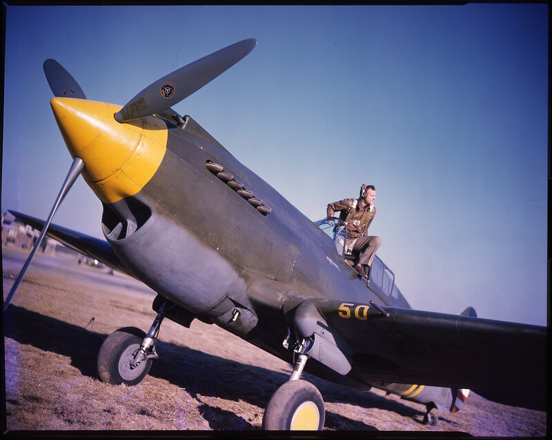 U.S. Army Air Force Curtiss P-40 Warhawk (sn 39-188) with Captain Charles W. Stark Jr. of the 35th Pursuit 'Black Panther' Squadron, 8th Air Force, Mitchell Field, ca. 1941