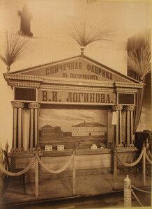 Витрина с изделиями спичечной фабрики В.И. Логинова в фабричном отделе выставки.