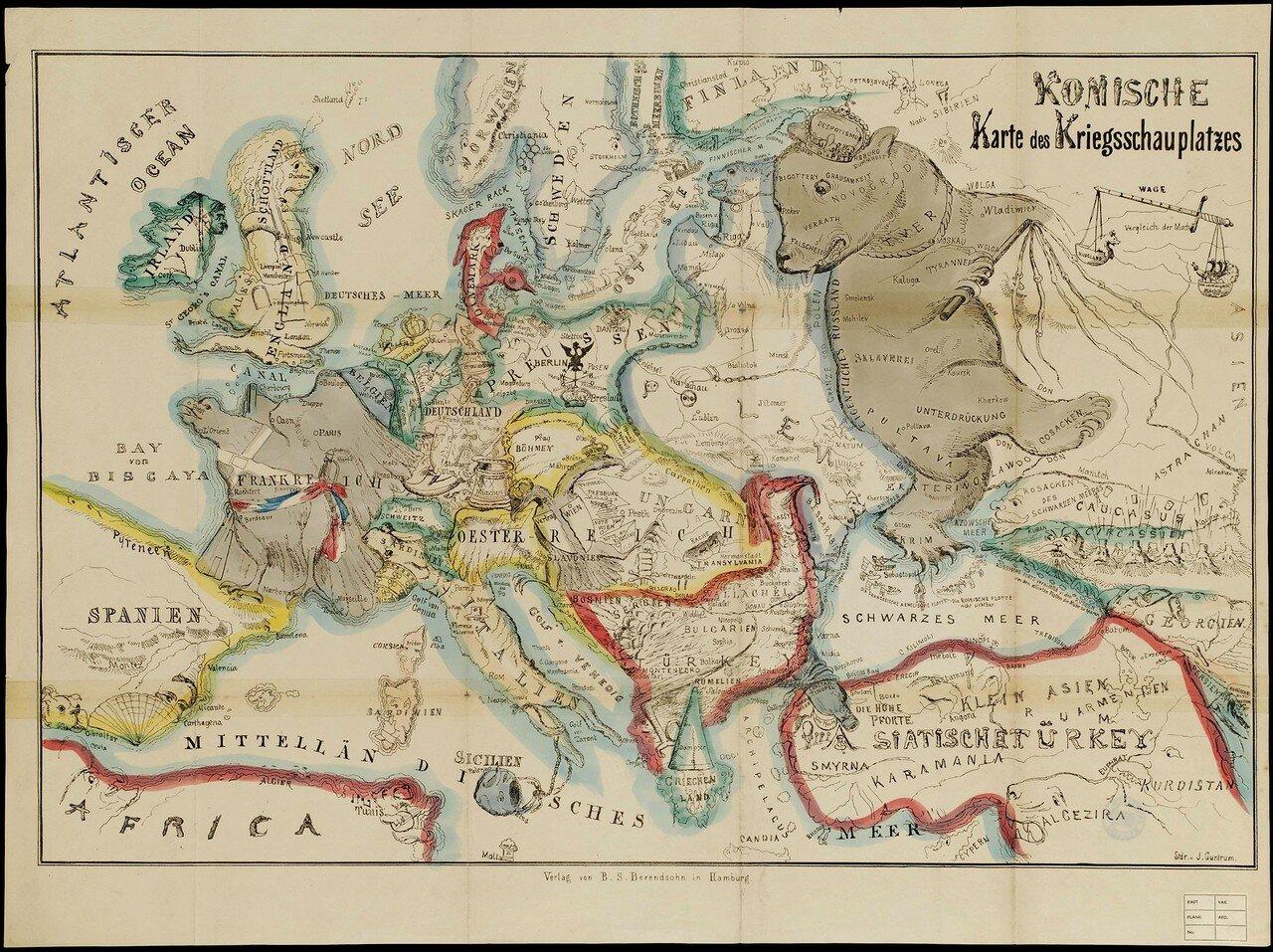 1854. «Шуточная карта театра военных действий» или «Европа с высоты птичьего полета», Гамбург