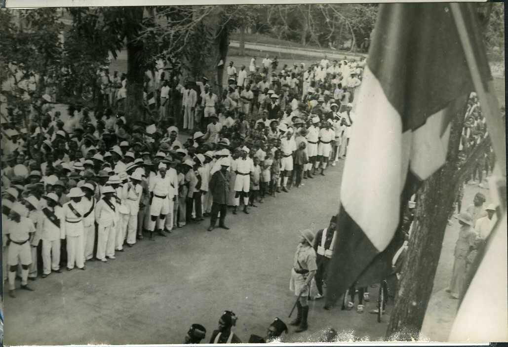 1943. Конго. Браззавиль. Праздник, парад местной гвардии
