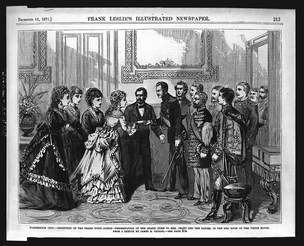 Великий князь Алексей знакомится с миссис Грант и ее сопровождающими дамами, 1871