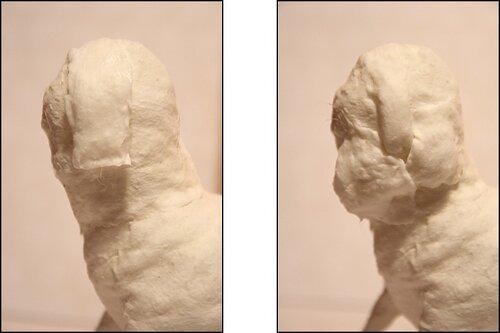 Переходим к лицу. Это самый ответственный момент. С помощью небольших кусочков ваты формируем нос и щеки.