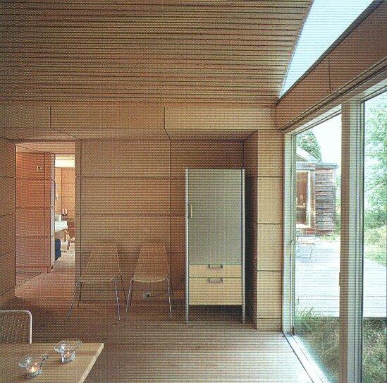 Tisvilde, Denmark, Kim Utson 5 жилой модульный дом в Скандинавии, отделка деревом, фанера, терраса, кухня столовая,