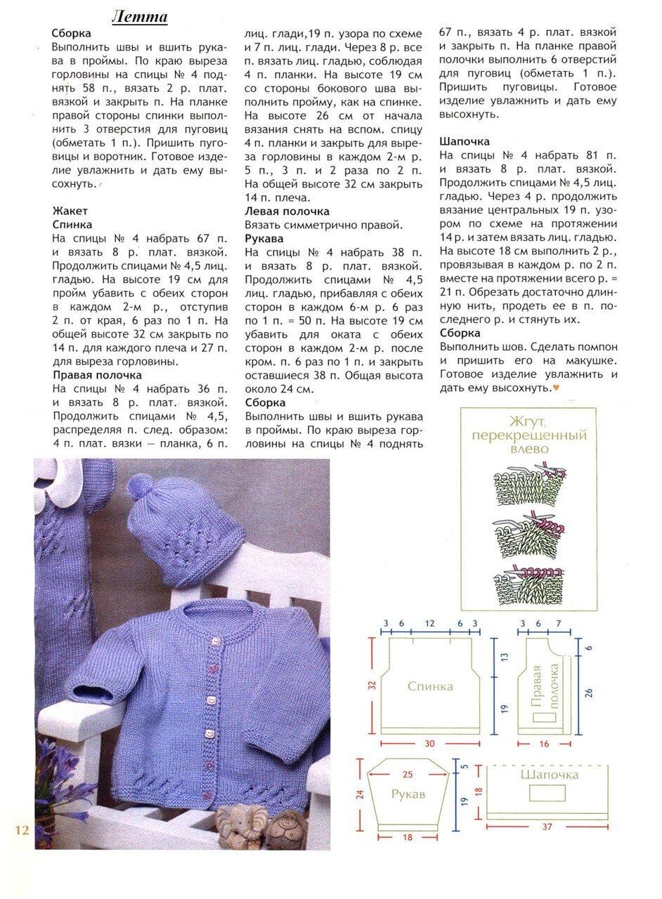 Вязание спицами для детей до года кофточки с описанием для начинающих