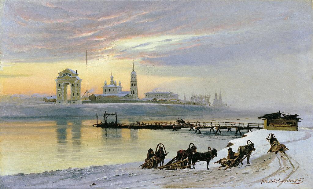 0306.Dobrovol'skiiy.Nikolaiy.(1837-1900).Pereprava.cherez.Angaru.v.Irkutske.1886.holst.maslo.70h112..jpg