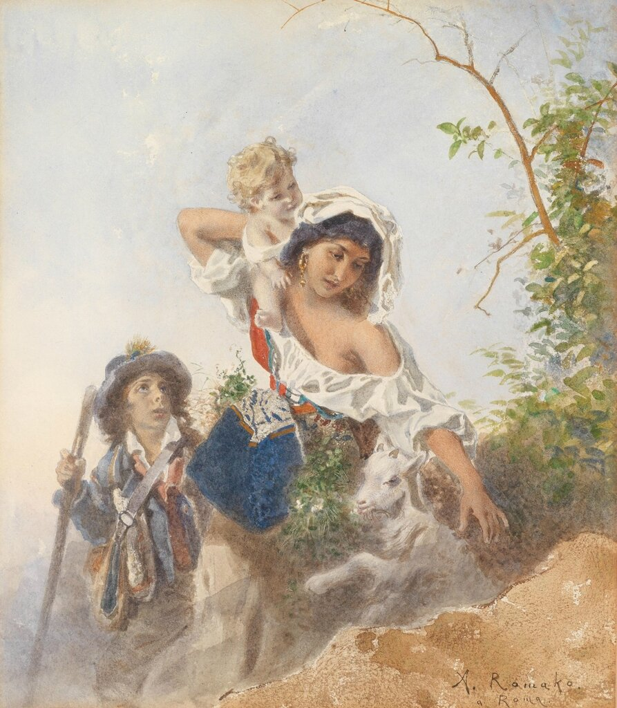Anton Romako (Atzgersdorf 1832-1889 Wien) Italienische Hirtenfamilie, signiert A. Romako a Roma, Aquarell auf Papier