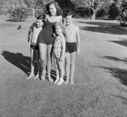 Paulette Goddard Posing with Sidney and Charles Chaplin Jr.