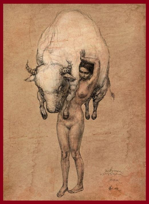 Девушка несущая быка. 2009, Владимир Фоканов