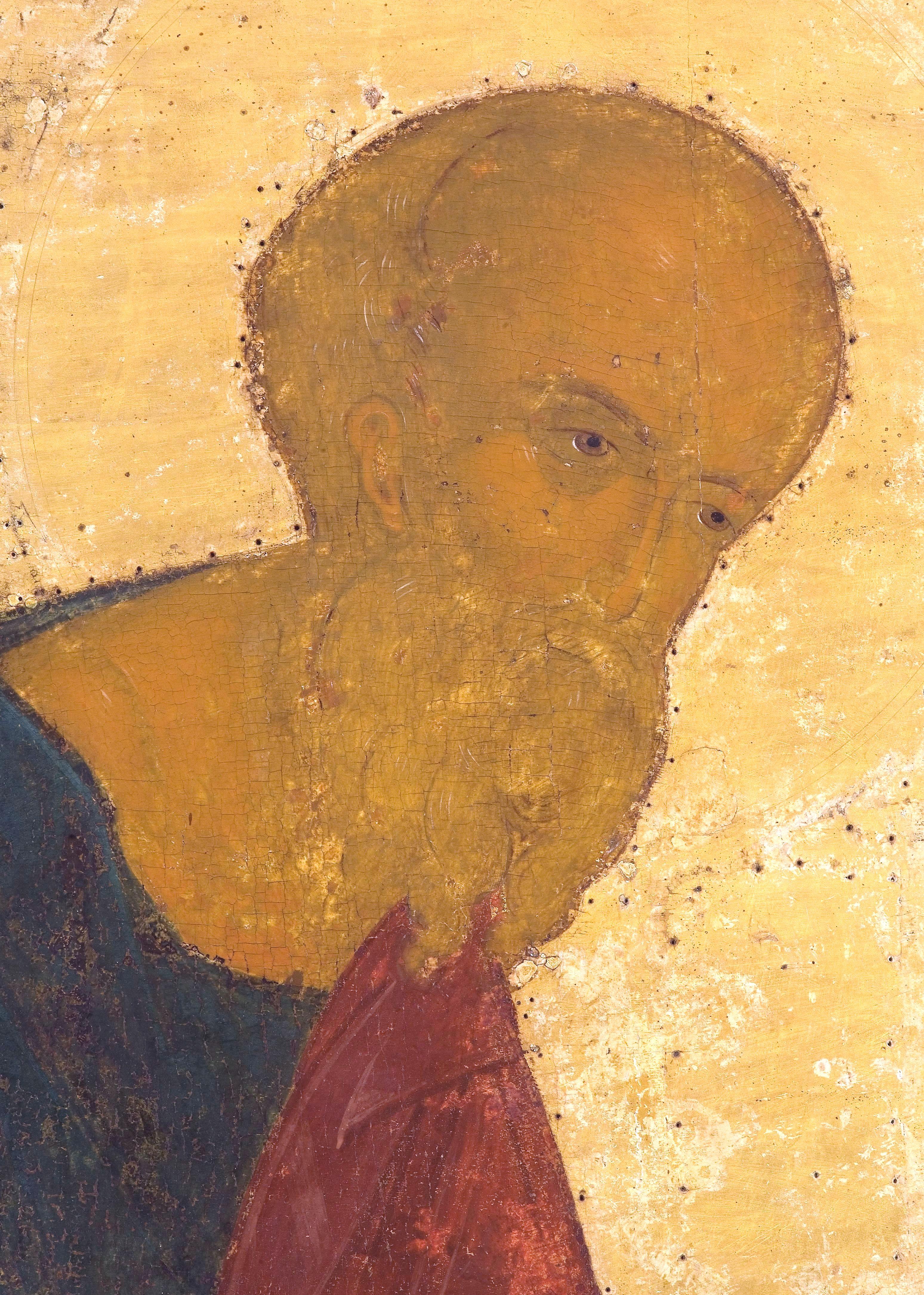 Святой Апостол и Евангелист Иоанн Богослов. Икона из Кирилло-Белозерского монастыря. Около 1497 года. Фрагмент.