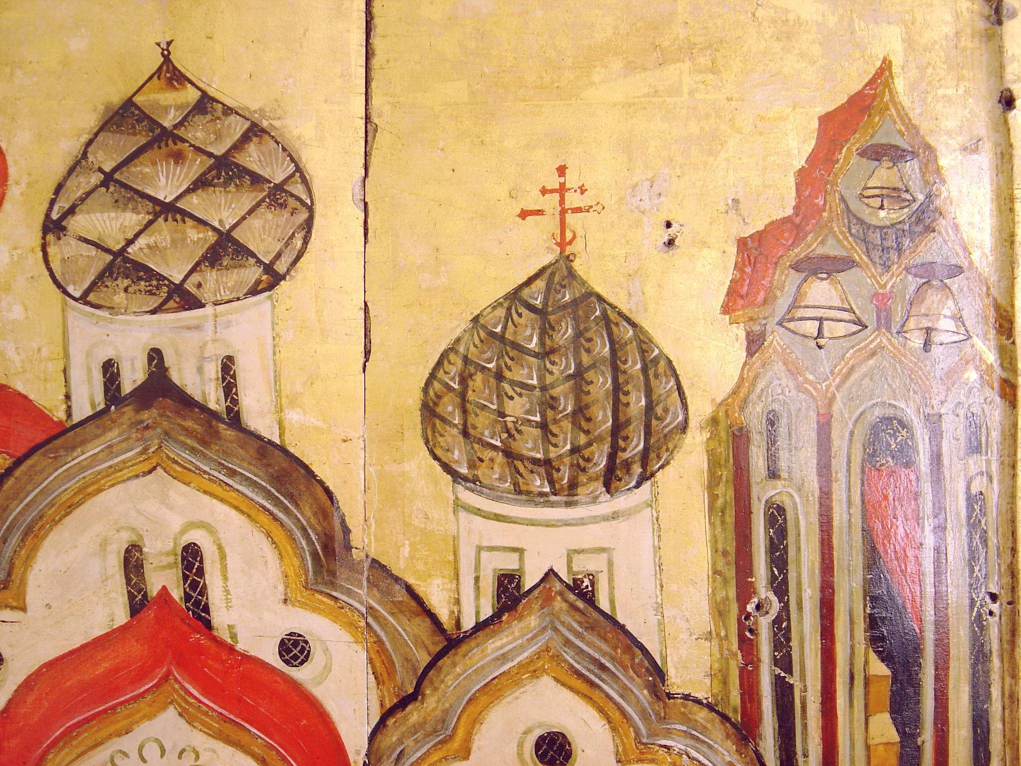 Покров Пресвятой Богородицы. Икона XVI века. Фрагмент.