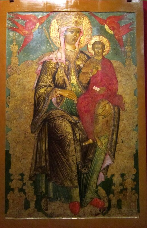 Богоматерь с Младенцем на Престоле. Последняя четверть XVII века. Поволжье.