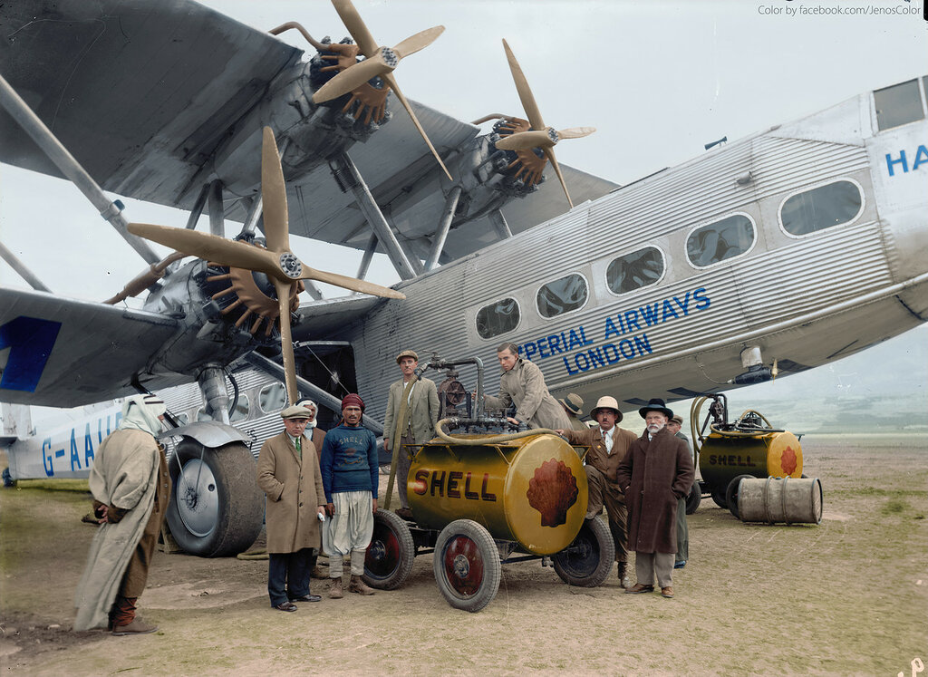 October 1931. Imperial Airways aircraft HP42 G-AAUD Hanno refueling at Semakh, British Mandate Palestine