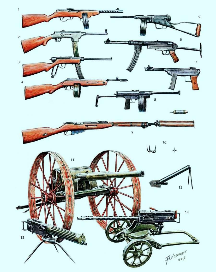 Различные варианты переделки партизанами отдельных экземпляров советского и трофейного оружия