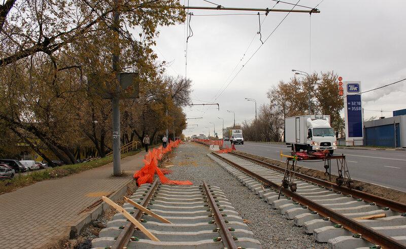 Трамвайные пути около улицы Подбельского