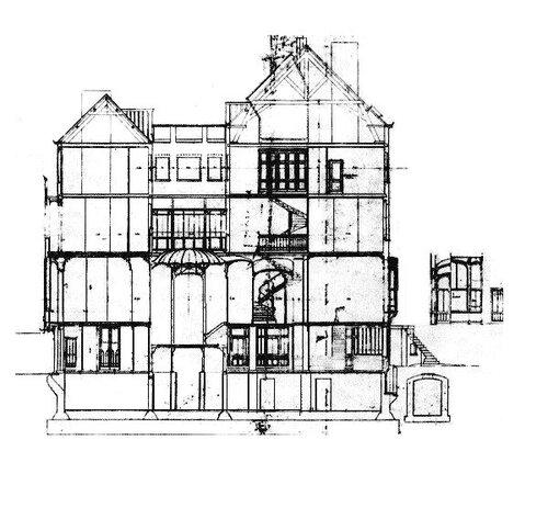 Отель van Eetvelde в Брюсселе, архитектор Виктор (Гектор) Гимар, разрез